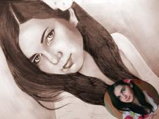 Portret bust <b>1</b> persoana, sepia, , A4